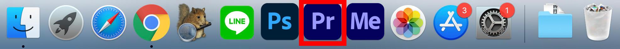 DockからPremiere Pro CCを起動する