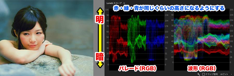 パレード(RGB)と波形(RGB)の説明